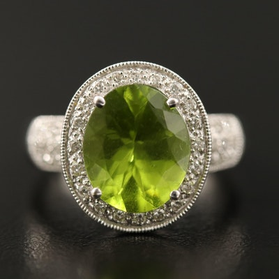 14K Peridot and Diamond Halo Milgrain Ring