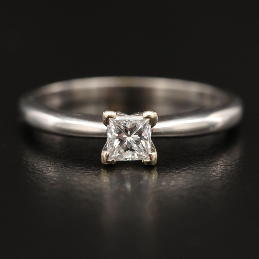 14K 0.34 CT Diamond Princess Cut Solitaire Ring