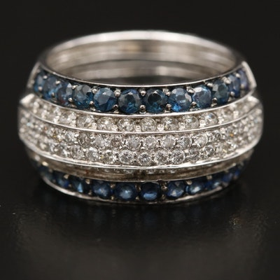 14K 1.03 CTW Diamond and Sapphire Multi-Row Band