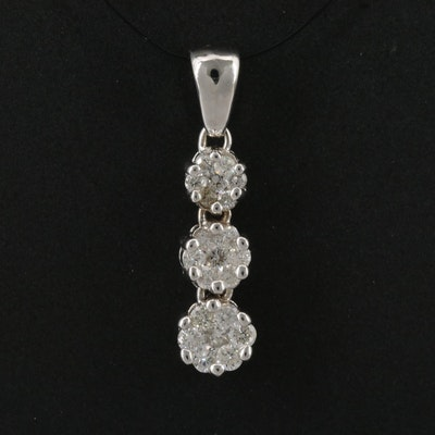 14K Diamond Graduated Three Tier Cluster Pendant