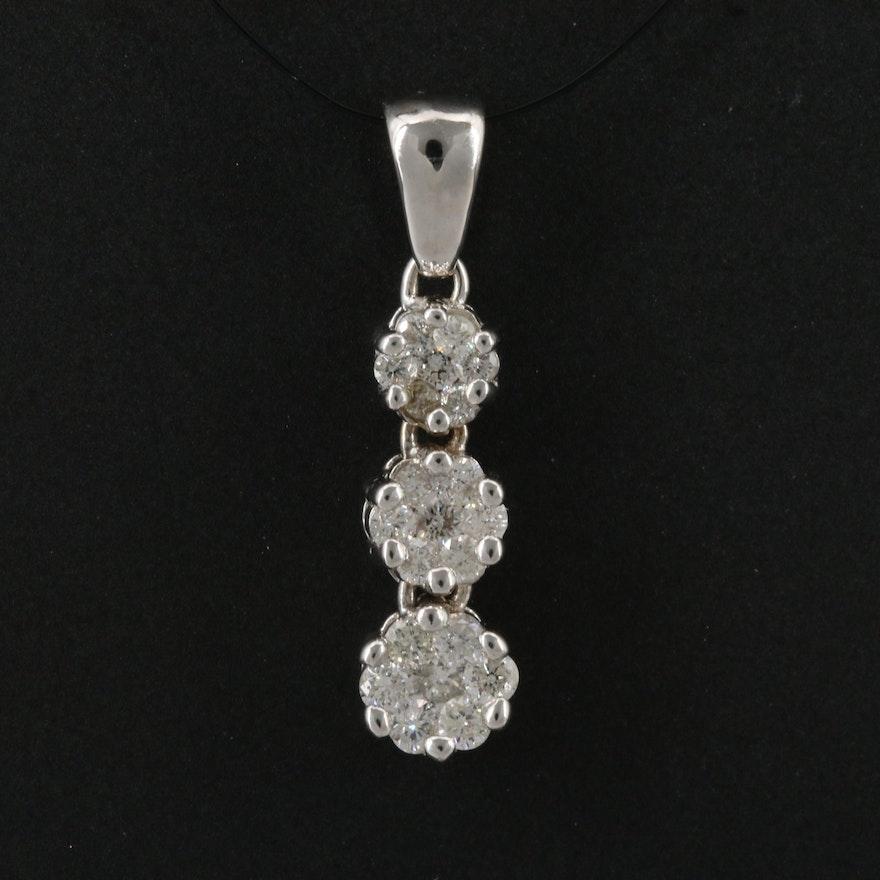 14K Diamond Graduated Three Tier Cluster Pendant