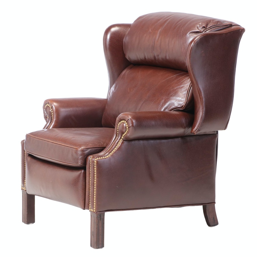 Hancock & Moore Chippendale Style Leather and Brass-Tacked Wingback Recliner