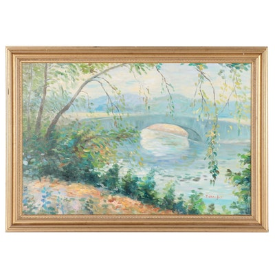 J. Blanford Impressionist Style Landscape Oil Painting of River Scene