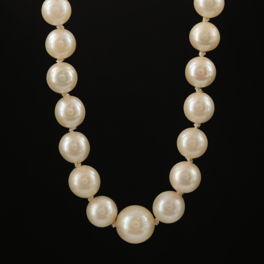 Strand of Graduated Knotted Pearls with 14K Clasp