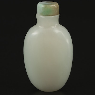 Chinese Carved Pale Green Nephrite Snuff Bottle with Jadeite Top