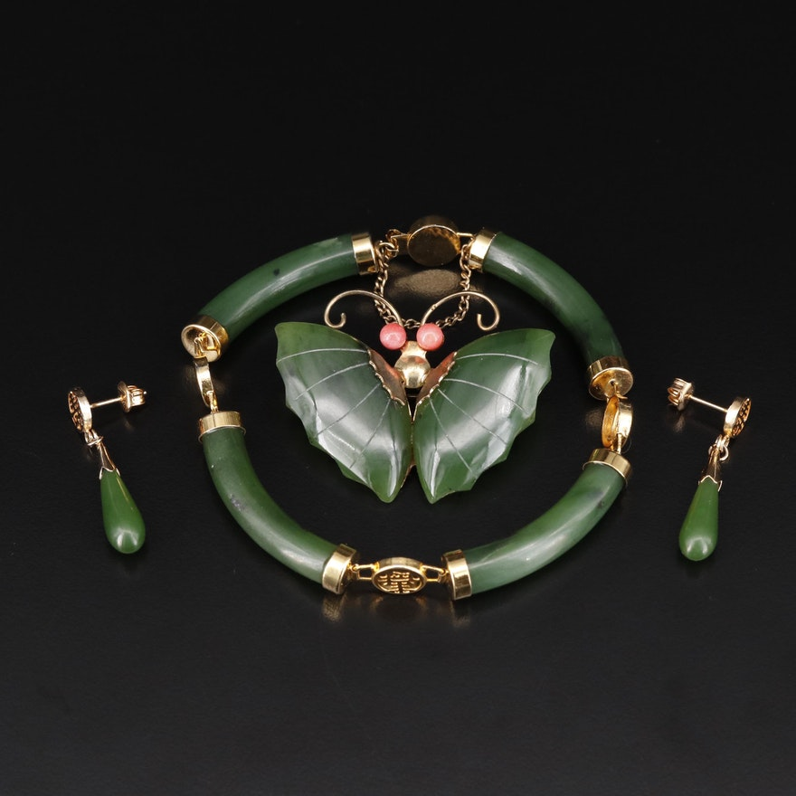 Nephrite and Coral Jewelry with Chinese Longevity Symbol