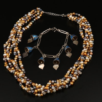 Thai Sterling Enamel Bell Bracelet with Pearl Torsade Necklace