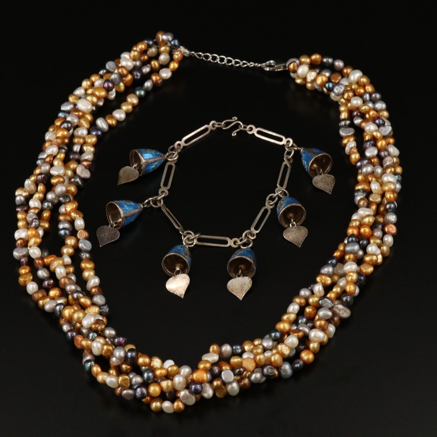 Thai Sterling Enamel Bell Bracelet with Pearl Torsade Necklace