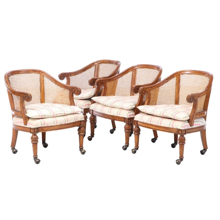 Four Kindel Furniture Caned and Upholstered Oak Tub Chairs, Late 20th Century