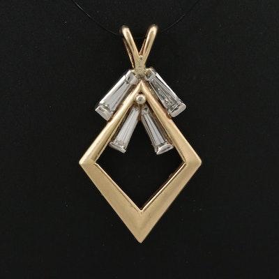 14K Diamond Kite Shaped Pendant with Platinum Accents