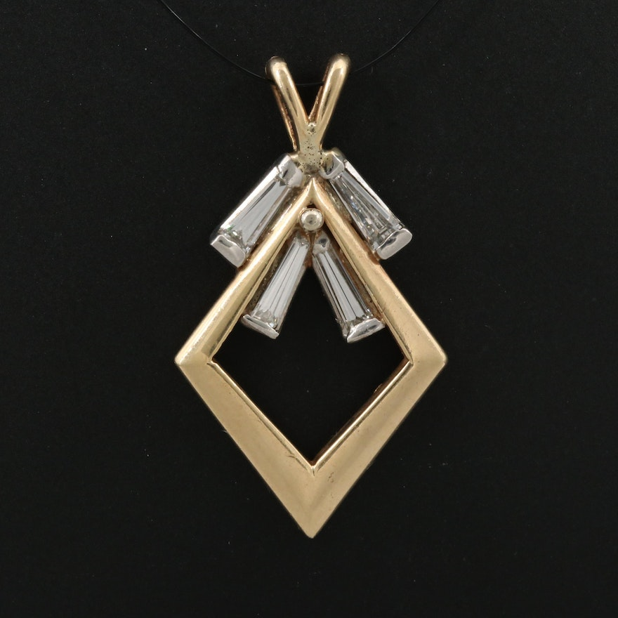 14K Diamond Kite Shaped Pendant with Platinum Accents