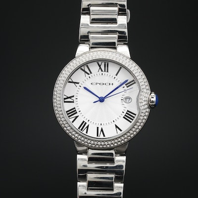 Epoch Crystal Accented Stainless Steel Quartz Wristwatch