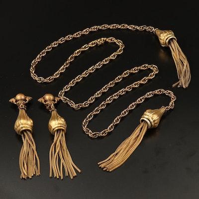 Vintage Joseff of Hollywood Sautoir and Earrings Set