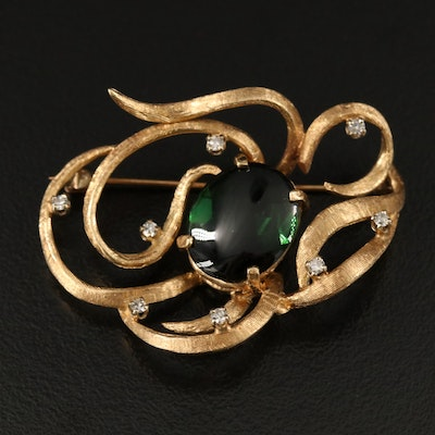 Vintage 14K Tourmaline and Diamond Brooch
