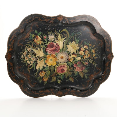 Pilgrim Art Hand-Painted Toleware Butler's Tray, circa 1920s