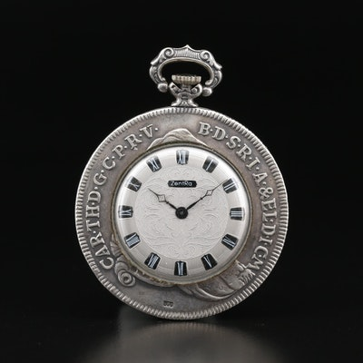 Zentra Replica Thalen .800 Silver Bavarian Coin Pocket Watch