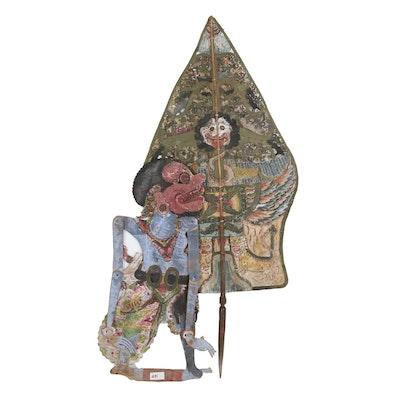 Indonesian Wayang Kulit Mountain and Figure Shadow Puppets