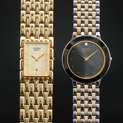 Pair of Citizen Elegance Two Tone and Gold Tone Quartz Wristwatches