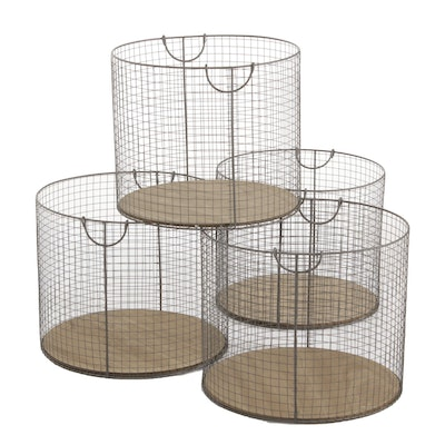 Metal Wire and Wood Storage Baskets