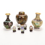 Chinese Cloisonné Vases, Ginger Jar and Miniature Eggs