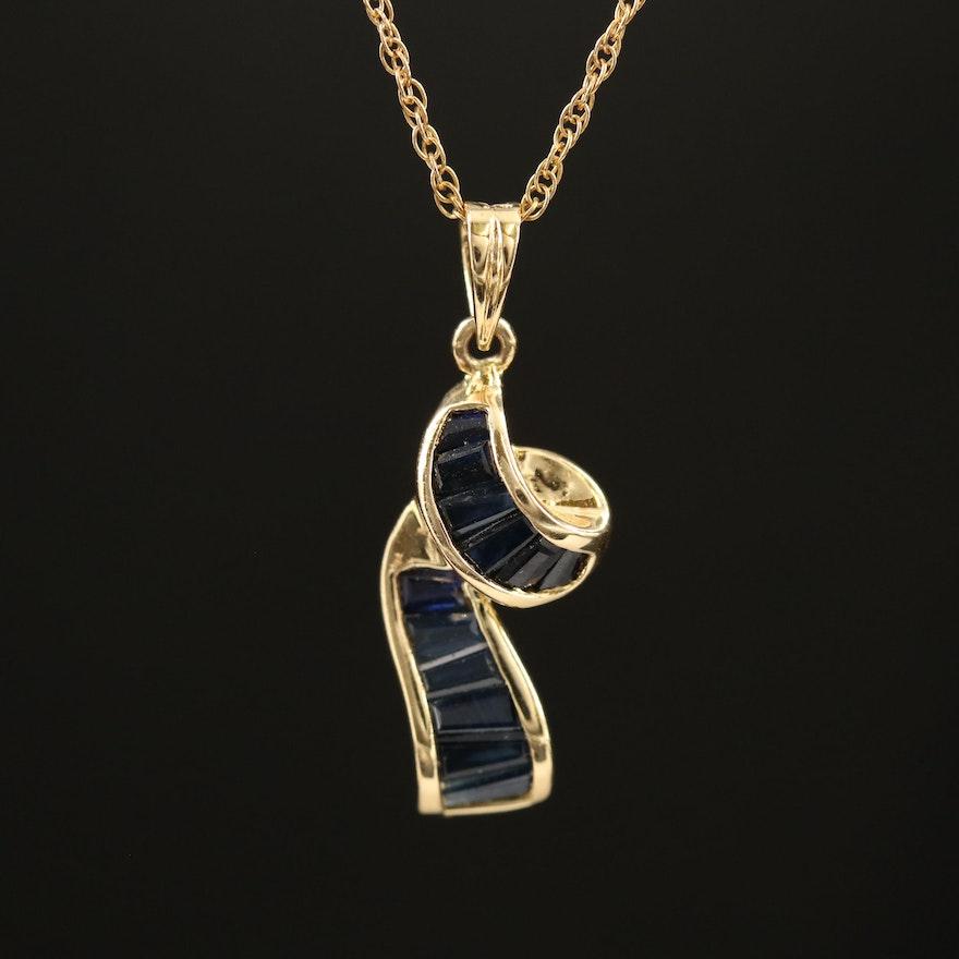 14K Sapphire Pendant Necklace