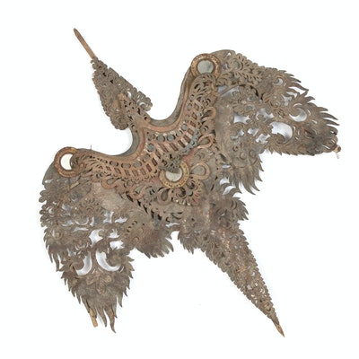 Balinese Pierced Hide Bird-Shaped Decorative Element with Mirror Inserts