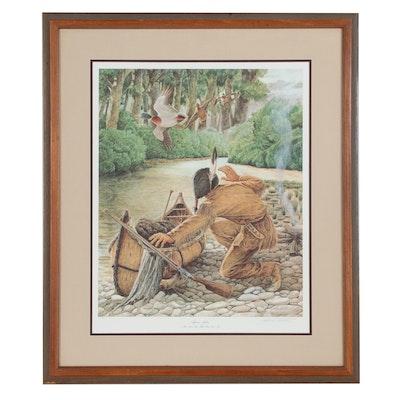 """John A. Ruthven Offset Lithograph """"Shawnee Indian"""", 1989"""