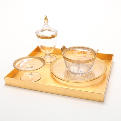 "Tiffin ""Wreath and Swag"" Gilt Trim Glassware and Gold Tray"