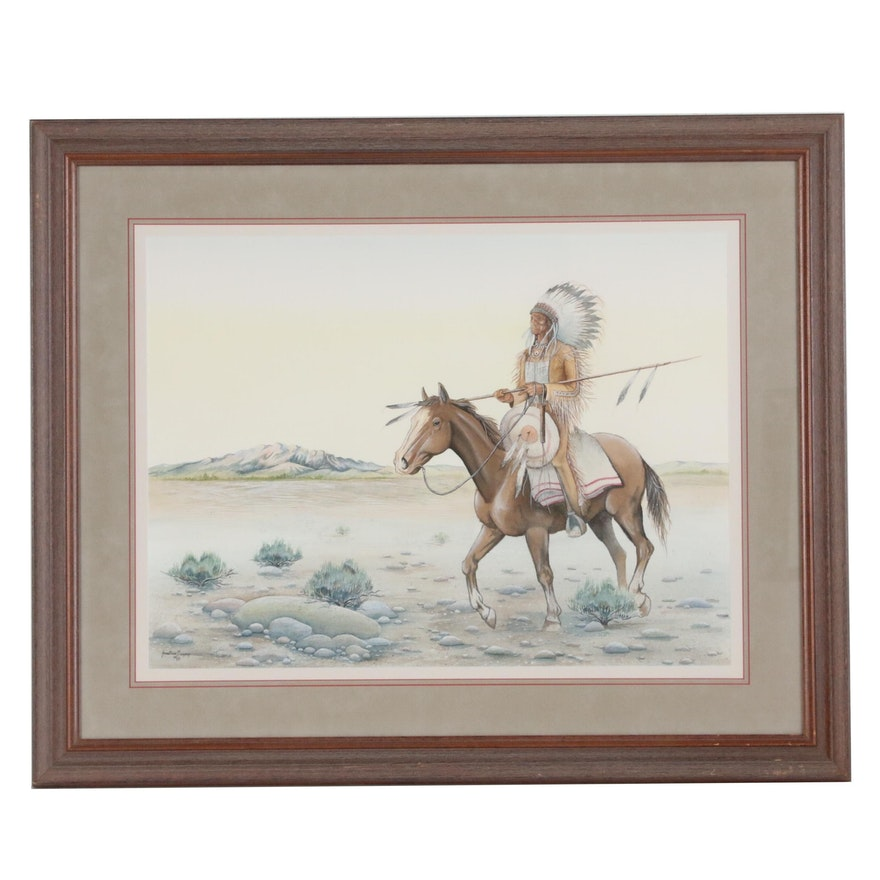 Jonathan Gregory Watercolor and Gouache Painting of Native American Figure, 1985