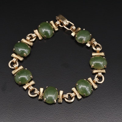 Vintage Krementz Oval Nephrite Cabochon Bracelet