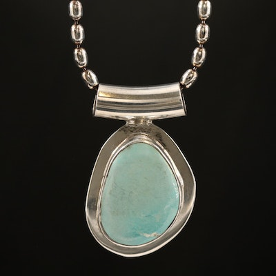 Sterling Freeform Turquoise Pendant on Bead Chain Necklace