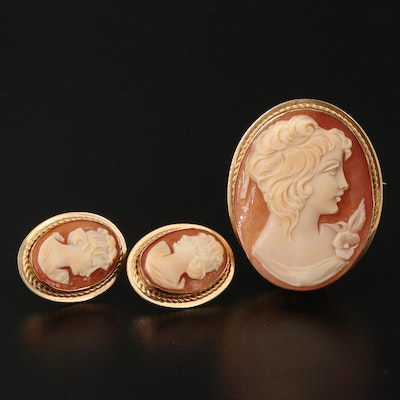 Vintage Shell Cameo Converter Brooch and Earrings Featuring VanDell