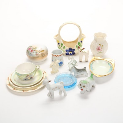 Porcelain and Glass Figurines, Vases, and Tableware, Early/Mid 20th Century