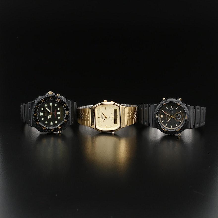 Pulsar and Casio Multi Function Digital/ Analog Quartz Wristwatches