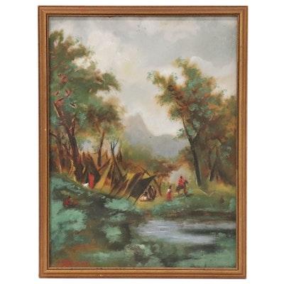 "Oil Painting after Albert Bierstadt ""Indian Encampment, Shoshone Village"""
