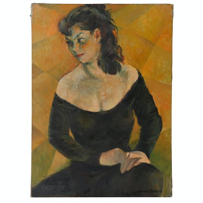 Jacques Zuccaire Oil Painting Portrait of a Woman, Mid to Late 20th Century