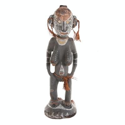 Mindimbit Style Polychrome Wood Female Sculpture, Papua New Guinea