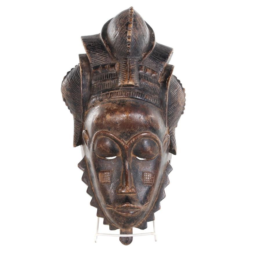 Baule Style Carved Wood Mask, West Africa