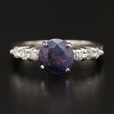 Platinum 1.90 CT Kashmir Sapphire and Diamond Ring with GIA Report