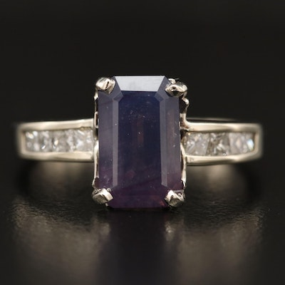 14K 4.34 CT Kashmir Sapphire and Diamond Ring with GIA Report