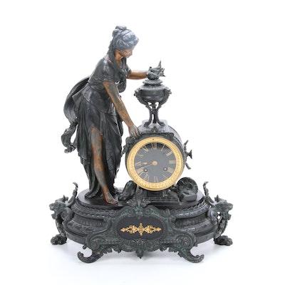 Japy Freres Bronze Mantel Clock, Antique