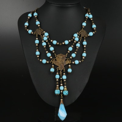 Art Nouveau Czech Glass Festoon Necklace