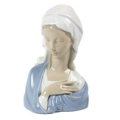 """Lladró """"Madonna Head"""" Porcelain Figurine Designed by Vicente Martínez"""