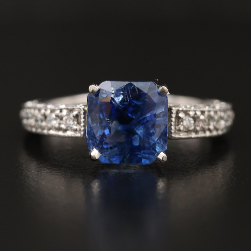 Platinum 4.01 CT Sapphire with GIA Report and Diamond Ring