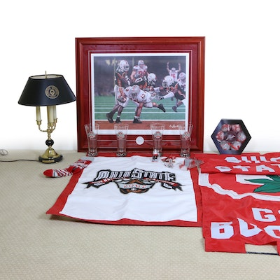 "Ohio State Bouillotte Lamp and 2002 ""Script Ohio"" National Champs Framed Print"