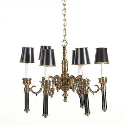 Six-Arm Brass and Black  Chandelier