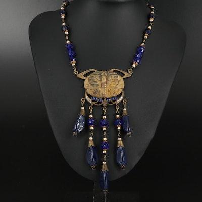 Art Nouveau Style Czech Glass Butterfly Pendant Beaded Necklace