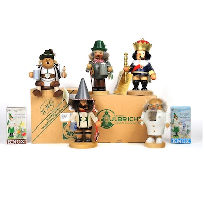Handcrafted German Wooden Incense Smokers and Nutcracker