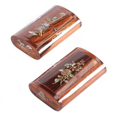 Pair of Abalone Inlaid Rosewood Snuff Boxes