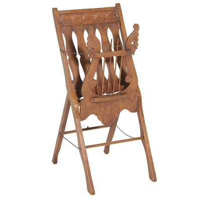 Victorian Carved Walnut Folding Music Caddy, Early 20th Century